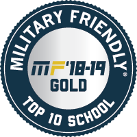 2018-2019 'Military-Friendly Top 10 School' badge, issued by militaryfriendly.com